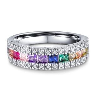 New Colorful CZ Zircon Stone Rainbow Silver Rings